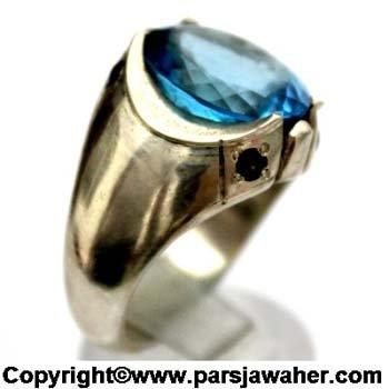 انگشتر مردانه توپاز آبی 929.1