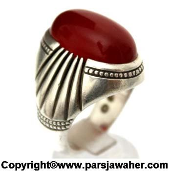 انگشتر مردانه عقیق سرخ یمنی a364