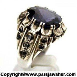 سنگ یاقوت کبود در انگشتر نقره