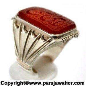 انگشتر عقیق خطی با رکاب گلدانی شیراز ۲۲۲۷