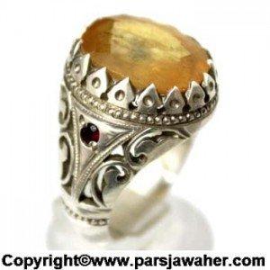 انگشتر نقره مردانه دست ساز یاقوت زرد رکاب شبکه