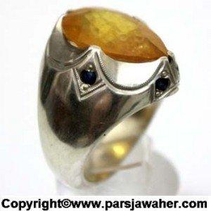 انگشتر نقره با سنگ یاقوت زرد