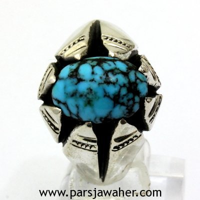 Neyshabur Turquoise Silver Men's Ring 169