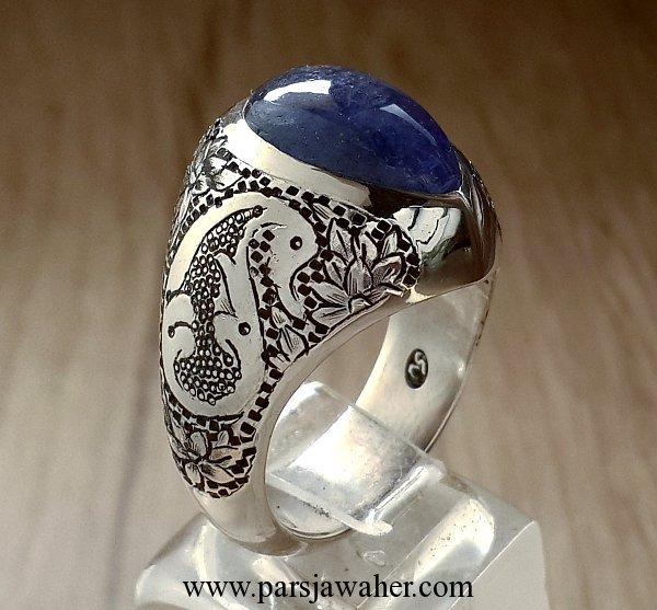 انگشتر نقره تانزانیت قلم زنی محمدی