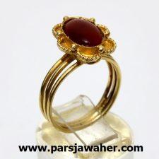 انگشتر طلای زرد زنانه عقیق یمنی 149