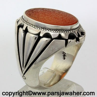 Engraved Agate Silver Ring 2738