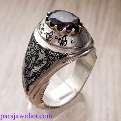amethyst engraved silver ring 279