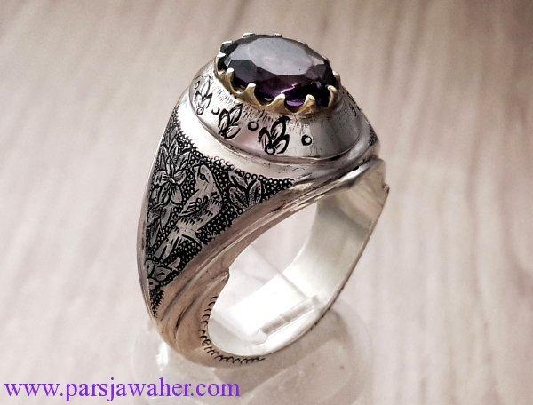 انگشتر نقره آمتیست قلم زنی 279