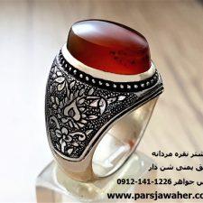 انگشتر مردانه عقیق یمنی شن دار a121