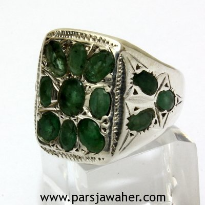 Colombian Emerald Silver Men's Ring 211