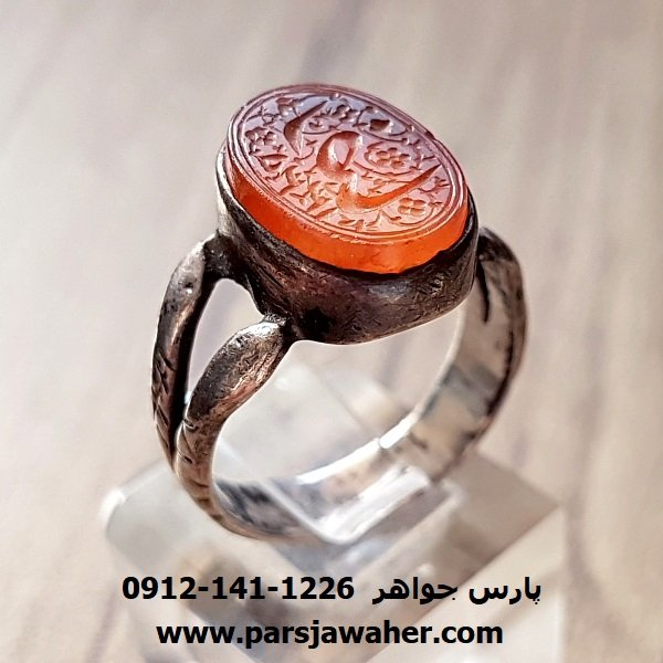 انگشتر قدیمی عقیق خطی قاجاری f155