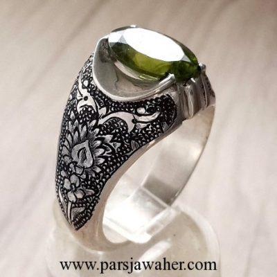 engraved handmade silver peridot silver mens ring 217