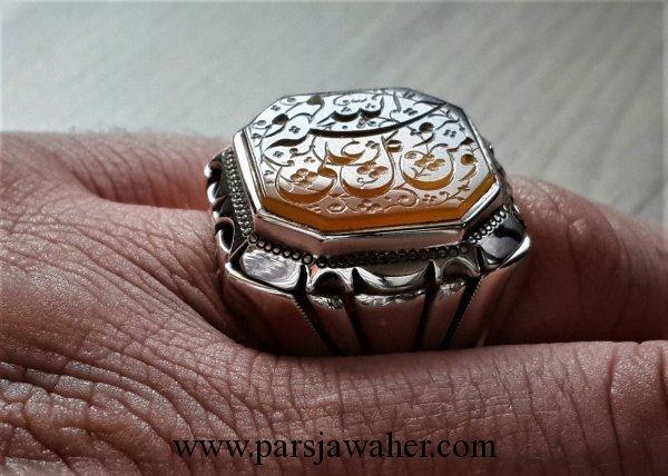 انگشتر مردانه نقره خطی 8568