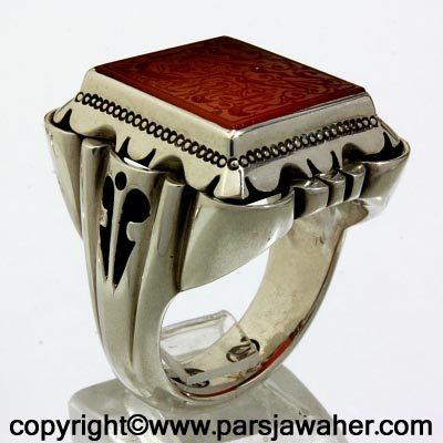 engraved agate ring 8501