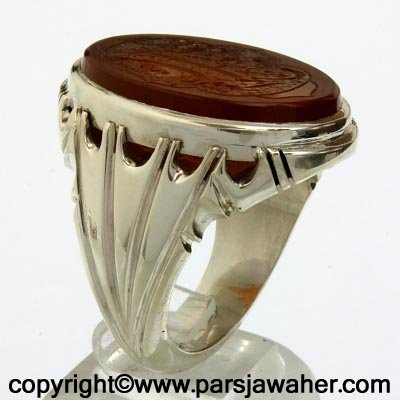 engraved aqeeq ring 2043