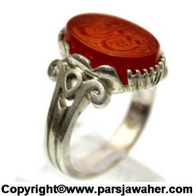 Engraved Aqeeq Silver Ring 2628
