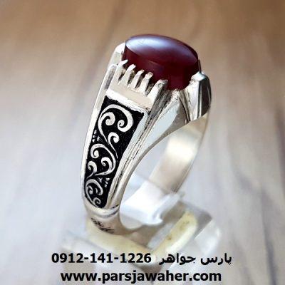 انگشتر مردانه عقیق یمنی قلم زنی a142