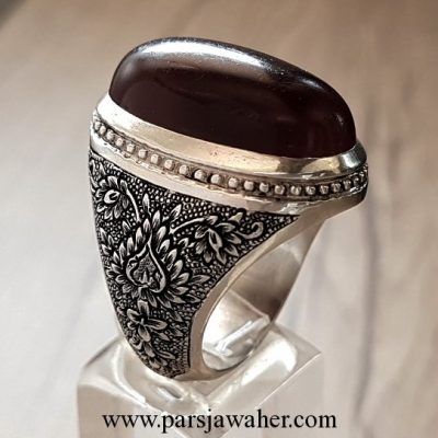 handcrafted silver men's agate ring 1010