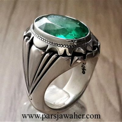 brazilian emerald handmade men's silver ring