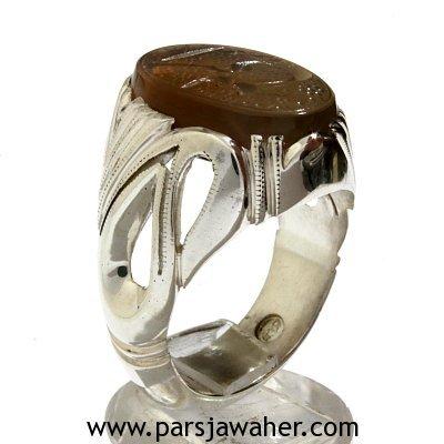 انگشتر جزع یمانی رکاب الماسی 354