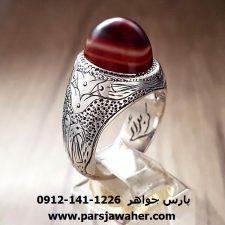 انگشتر نقره مردانه دست ساز عقیق سه پوست a158