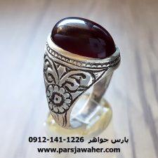 انگشتر قدیمی عقیق یمنی قلم زنی میرزا جعفر قدیمیان 147