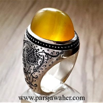 yellow agate men's silver ring 219