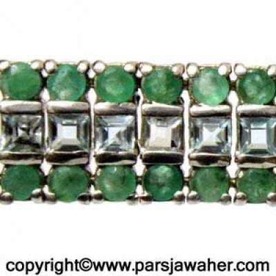 دستبند زنانه زمرد آکومارین 188