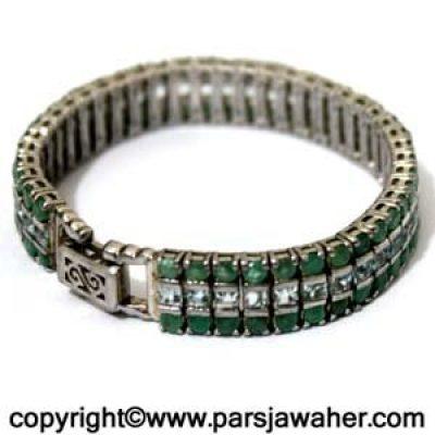 دستبند نقره زنانه زمرد 188