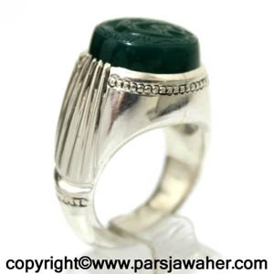انگشتر عقیق سبز مولا
