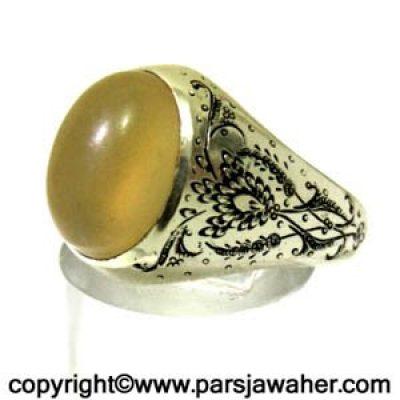 انگشتر نقره مردانه جزع یمانی 3014