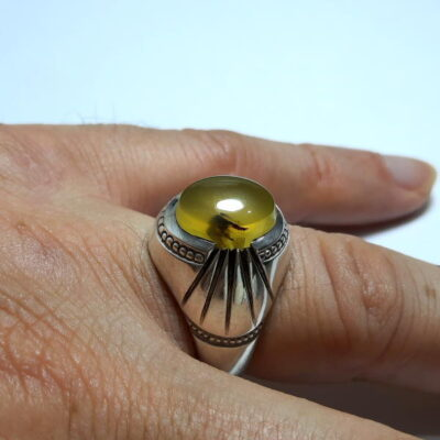 انگشتر مردانه عقیق زرد a465.5