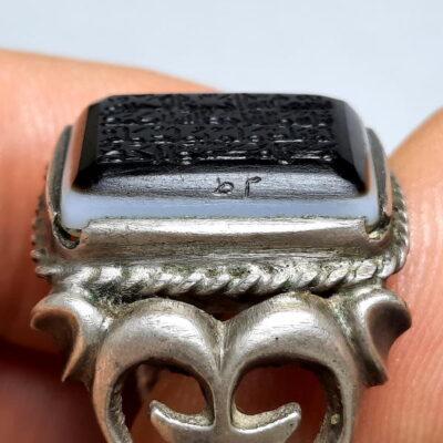 انگشتر جزع یمانی خطی f493.2