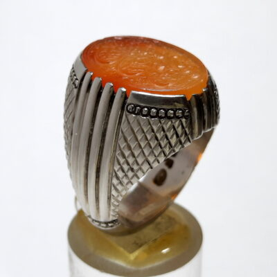 انگشتر فدیوم عقیق قدیمی خطی f495
