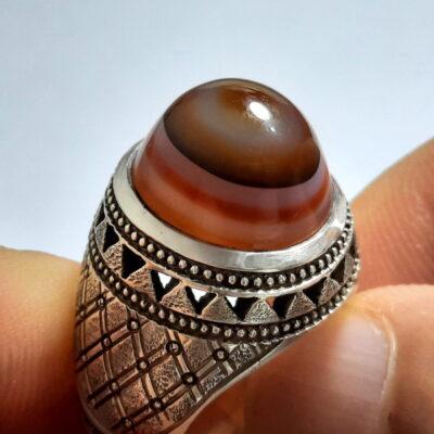 انگشتر عقیق سه پوست طبیعی اصل a479.1