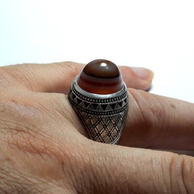 انگشتر عقیق سه پوست طبیعی اصل a479.5