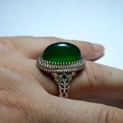 انگشتر مردانه عقیق سبز a482.4