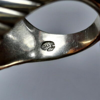 انگشتر عقیق خطی حکاکی قدیمی f499.7