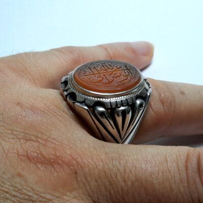انگشتر مردانه عقیق خطی 7116.5