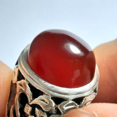 انگشتر مردانه عقیق سرخ یمن a496.1