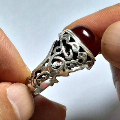 انگشتر مردانه عقیق سرخ یمن a496.2