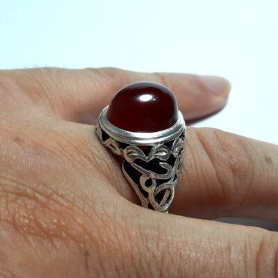 انگشتر مردانه عقیق سرخ یمن a496.6