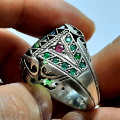 انگشتر مردانه دست ساز خطی 7119.3