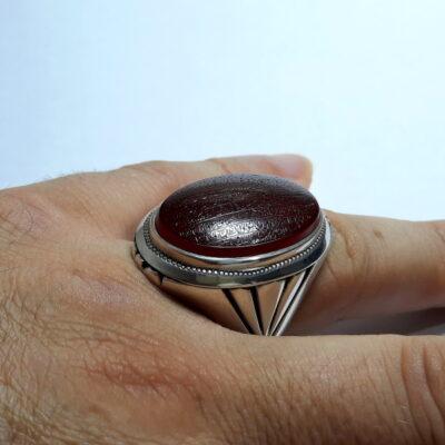 انگشتر عقیق خطی مردانه 7123.6