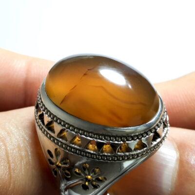 انگشتر جزع زرد یمانی f510.1