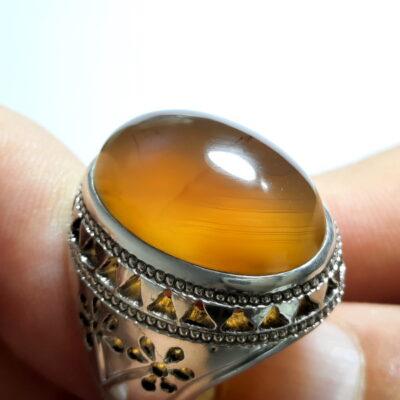 انگشتر جزع زرد یمانی f510.2