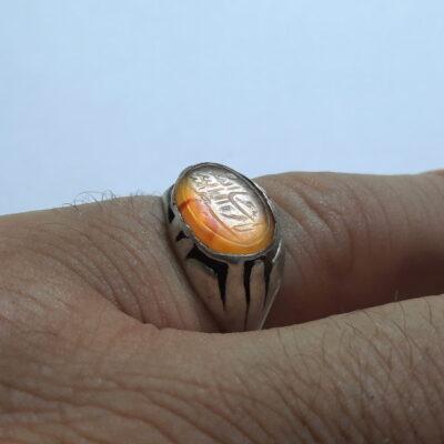 انگشتر قدیمی عقیق زرد خطی f511.6