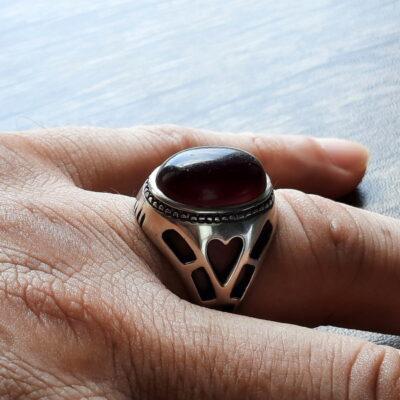 انگشتر قدیمی عقیق آلبالویی f512_4