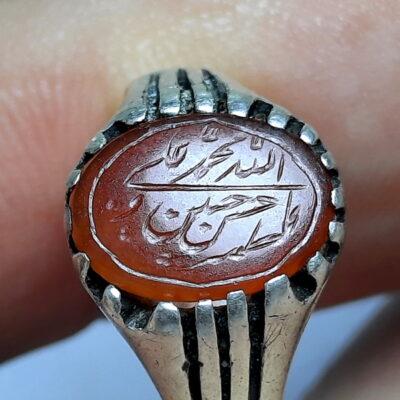 انگشتر قدیمی عقیق خطی 7217_1