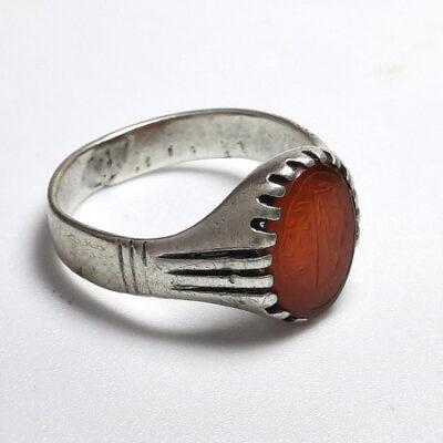 انگشتر قدیمی عقیق خطی 7217_4